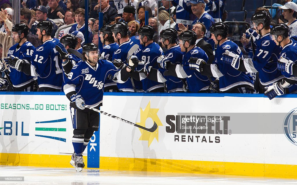 Cory Conacher #89 of the Tampa Bay Lightning celebrates after scoring during the second period of the game against the Winnipeg Jets at the Tampa Bay Times Forum on February 1, 2013 in Tampa, Florida.