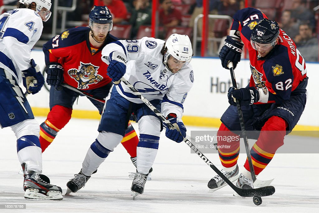 Cory Conacher #89 of the Tampa Bay Lightning skates with the puck against Tomas Kopecky #82 of the Florida Panthers at the BB&T Center on March 12, 2013 in Sunrise, Florida.