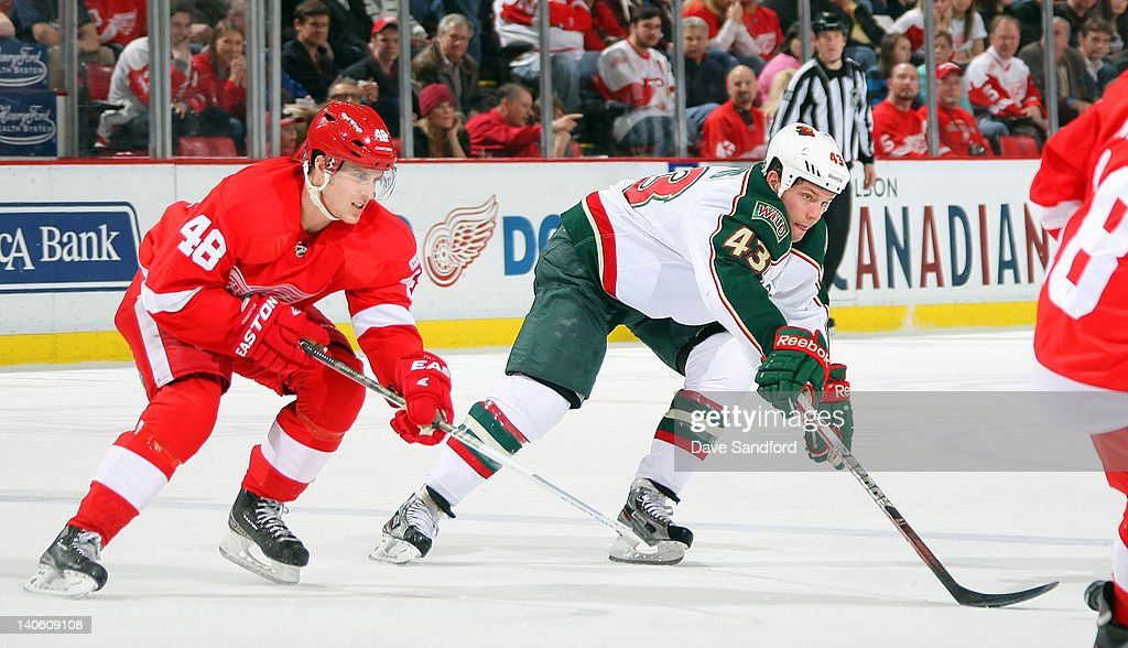 Cory Emmerton #48 of the Detroit Red Wings battles for a loose puck with Warren Peters #43 of the Minnesota Wild during a NHL game at Joe Louis Arena on March 2, 2012 in Detroit, Michigan.