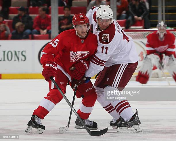 Cory Emmerton of the Detroit Red Wings battles for position with Martin Hanzal of the Phoenix Coyotes during a NHL game at Joe Louis Arena on October...