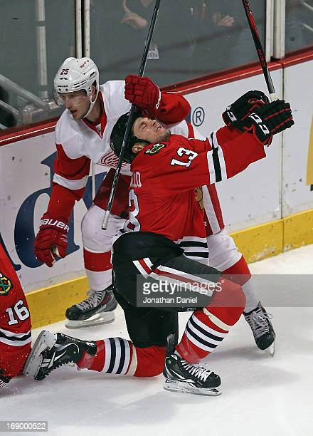 Cory Emmerton of the Detroit Red Wings grazes Daniel Carcillo of the Chicago Blackhawks in the head with his stick in Game Two of the Western...