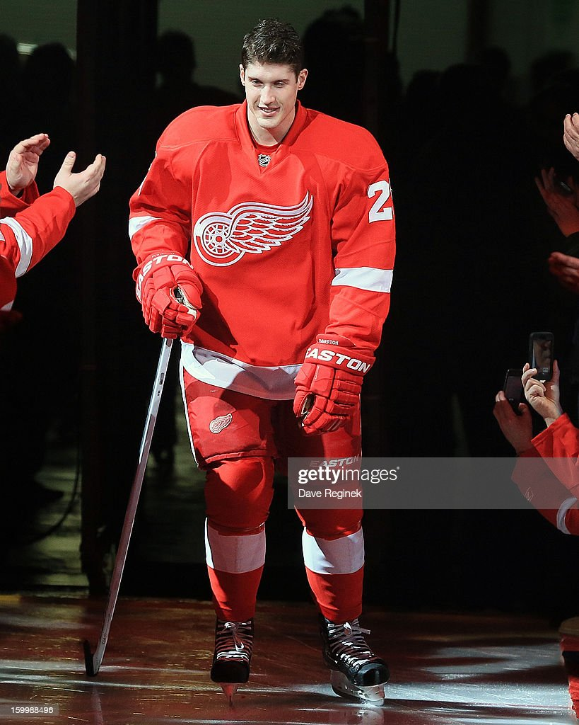 Cory Emmerton #25 of the Detroit Red Wings is introduced in pre-game ceramonies before an NHL game against the Dallas Stars at Joe Louis Arena on January 22, 2013 in Detroit, Michigan. Dallas won 2-1
