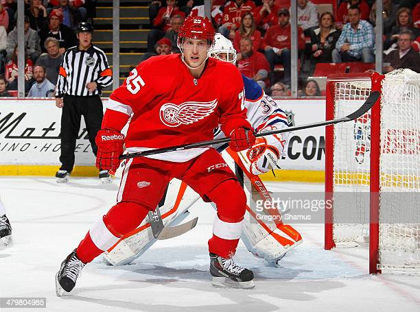 Cory Emmerton of the Detroit Red Wings skates against the Edmonton Oilers at Joe Louis Arena on March 14 2014 in Detroit Michigan