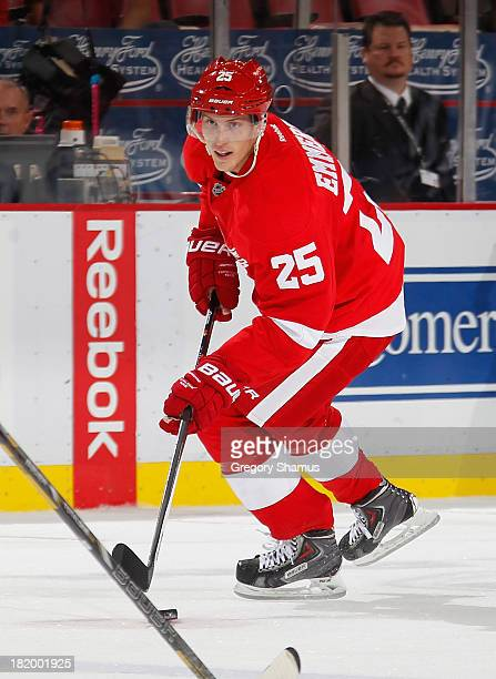 Cory Emmerton of the Detroit Red Wings skates against the Pittsburgh Penguins during a pre season game at Joe Louis Arena on September 25 2013 in...
