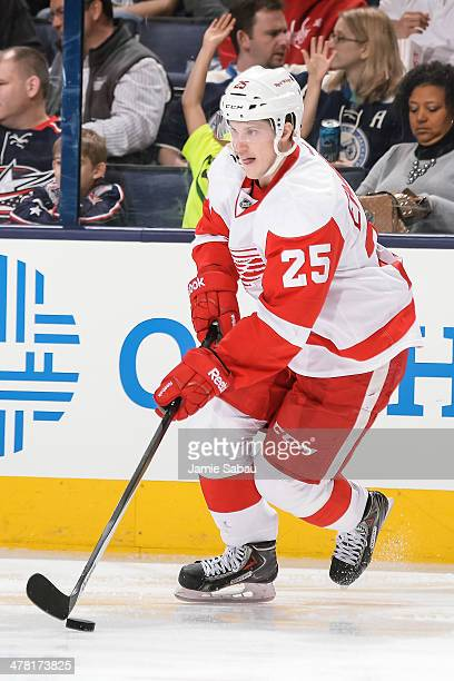 Cory Emmerton of the Detroit Red Wings skates with the puck against the Columbus Blue Jackets on March 11 2014 at Nationwide Arena in Columbus Ohio...