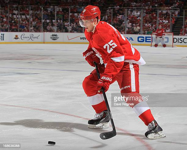 Cory Emmerton of the Detroit Red Wings skates with the puck during Game Four of the Western Conference Quarterfinals during the 2013 NHL Stanley Cup...