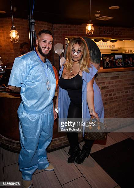 Cory Eps and Tracy DiMarco attend the Fresco Da Franco Halloween Ball at Fresco Restaurant on October 27 2016 in Montclair New Jersey
