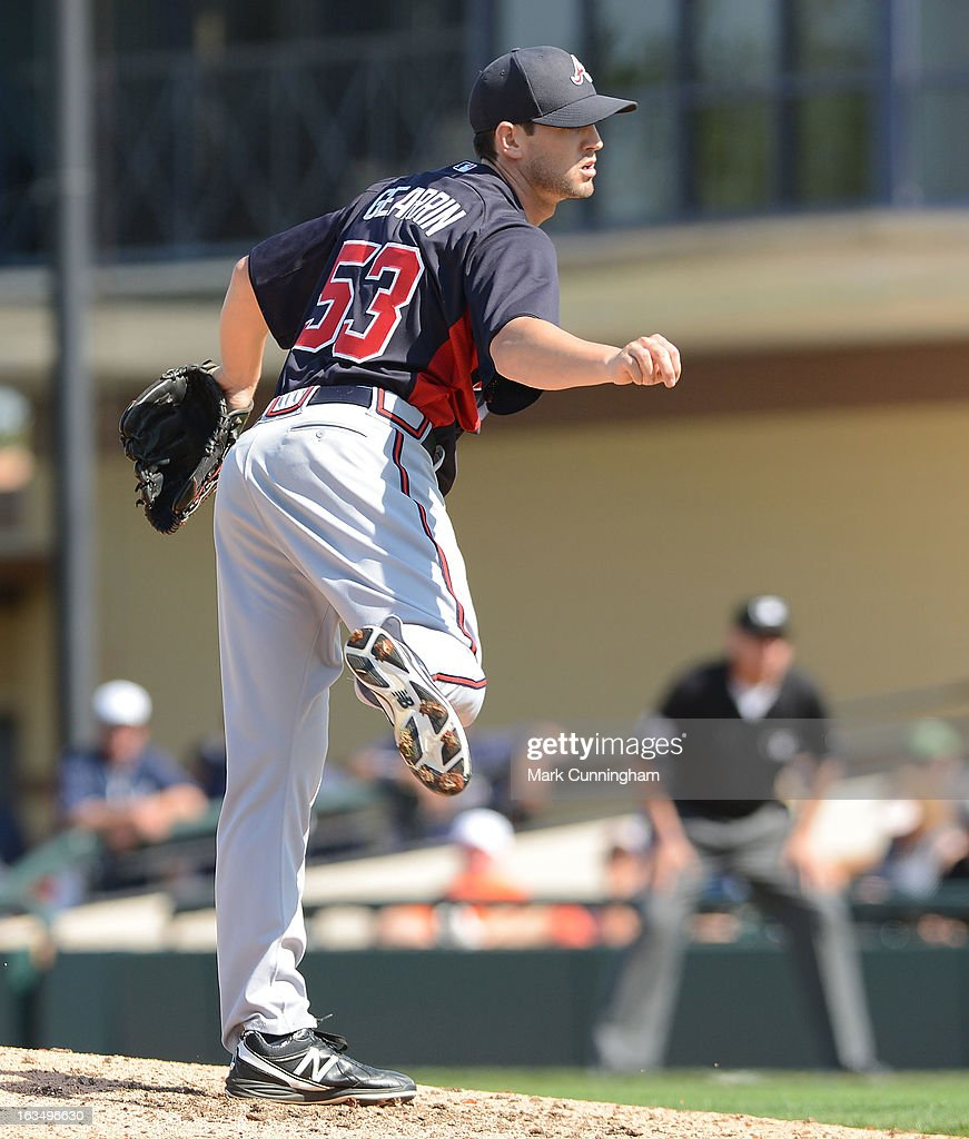 Cory Gearrin #53 of the Atlanta Braves pitches during the spring training game against the Detroit Tigers at Joker Marchant Stadium on February 27, 2013 in Lakeland, Florida. The Braves defeated the Tigers 5-3.