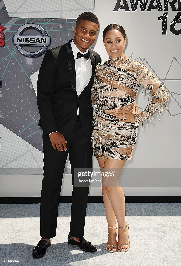 <a gi-track='captionPersonalityLinkClicked' href=/galleries/search?phrase=Cory+Hardrict&family=editorial&specificpeople=962160 ng-click='$event.stopPropagation()'>Cory Hardrict</a> and <a gi-track='captionPersonalityLinkClicked' href=/galleries/search?phrase=Tia+Mowry&family=editorial&specificpeople=631098 ng-click='$event.stopPropagation()'>Tia Mowry</a> attend the 2016 BET Awards at Microsoft Theater on June 26, 2016 in Los Angeles, California.