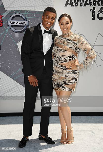Cory Hardrict and Tia Mowry attend the 2016 BET Awards at Microsoft Theater on June 26 2016 in Los Angeles California