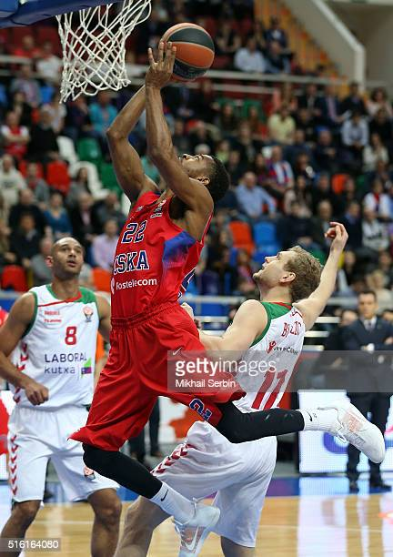 Cory Higgins #22 of CSKA Moscow competes with Jaka Blazic #11 of Laboral Kutxa Vitoria Gasteiz in action during the 20152016 Turkish Airlines...