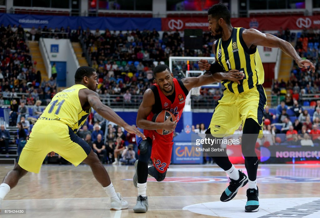 Cory Higgins, #22 of CSKA Moscow competes with Jason Thompson, #1 and Brad Wanamaker, #11 of Fenerbahce Dogus Istanbul in action during the 2017/2018 Turkish Airlines EuroLeague Regular Season Round 8 game between CSKA Moscow and Fenerbahce Dogus Istanbul at Megasport Arena on November 17, 2017 in Moscow, Russia.