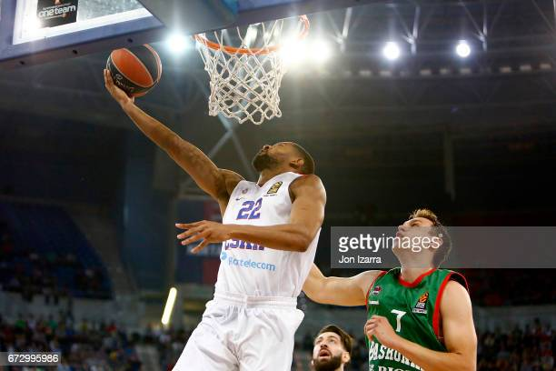 Cory Higgins #22 of CSKA Moscow in action during the 2016/2017 Turkish Airlines EuroLeague Playoffs leg 3 game between Baskonia Vitoria Gasteiz v...