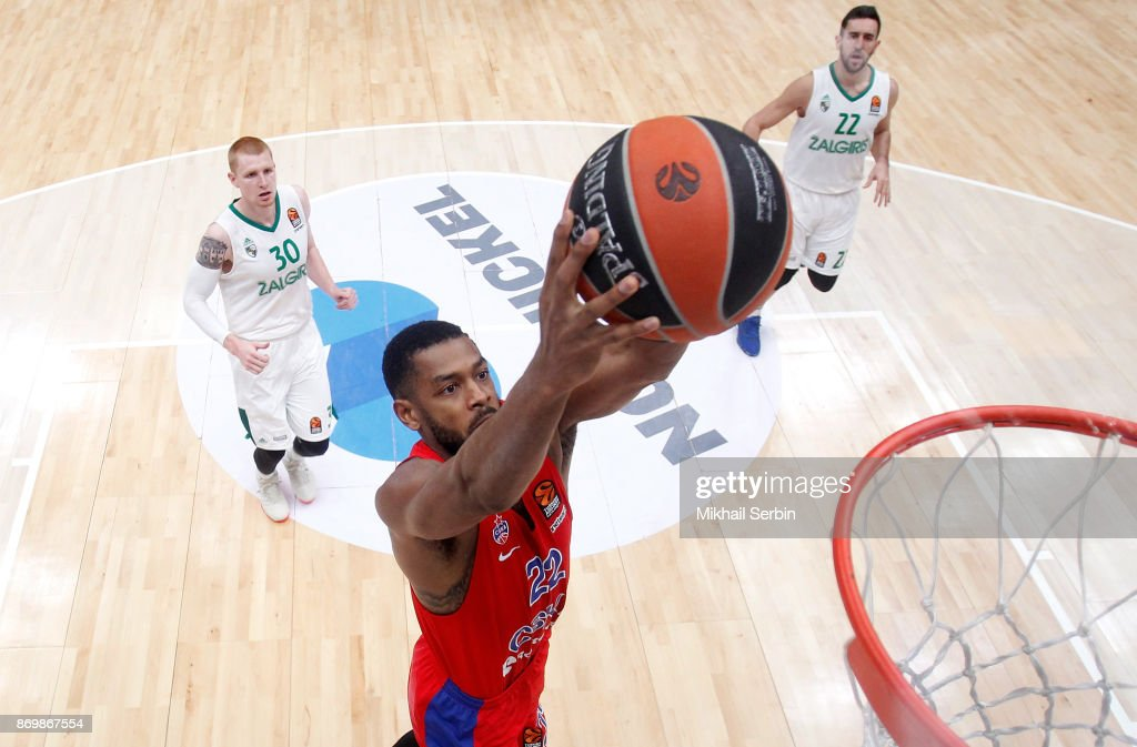 Cory Higgins, #22 of CSKA Moscow in action during the 2017/2018 Turkish Airlines EuroLeague Regular Season Round 5 game between CSKA Moscow and Zalgiris Kaunas at Megasport Arena on November 3, 2017 in Moscow, Russia.