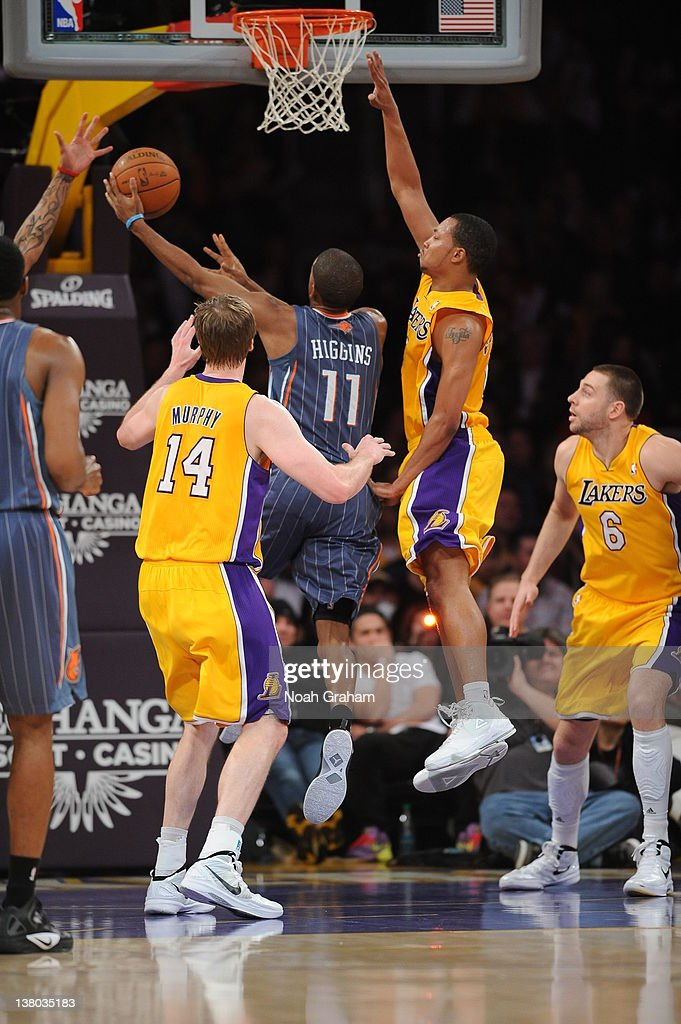 Cory Higgins #11 of the Charlotte Bobcats goes to the basket during the game between the Los Angeles Lakers and the Charlotte Bobcats at Staples Center on January 31, 2012 in Los Angeles, California.