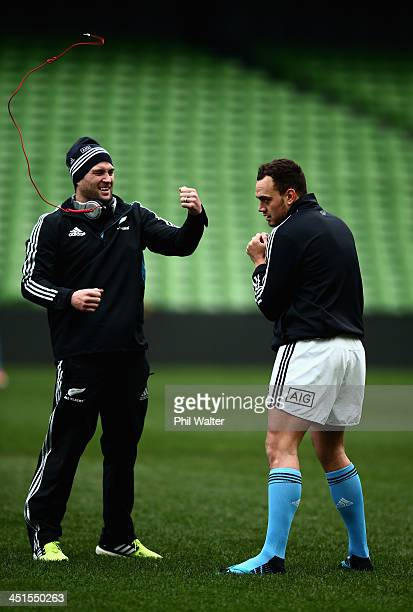 Cory Jane and Israel Dagg of the All Blacks shadow box during the New Zealand All Blacks Captains Run at Aviva Stadium on November 23 2013 in Dublin...