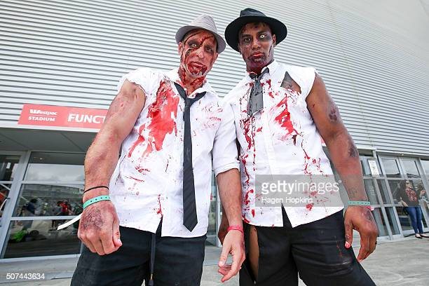 Cory Jane and Julian Savea pose in their zombie costumes during the 2016 Wellington Sevens at Westpac Stadium on January 30 2016 in Wellington New...
