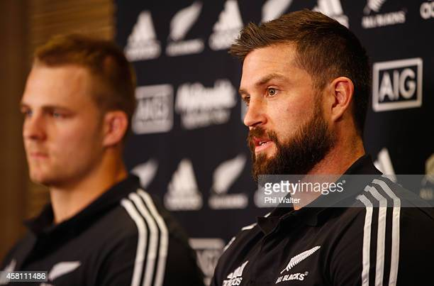 Cory Jane and Sam Cane during a New Zealand All Blacks media session at the Hyatt Regency on October 30 2014 in Chicago Illinois