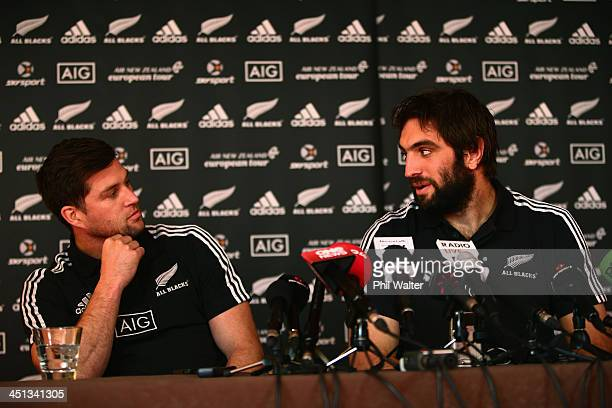 Cory Jane and Sam Whitelock of the New Zealand All Blacks speak during a media session at the Castleknock Golf Club on November 22 2013 in Dublin...