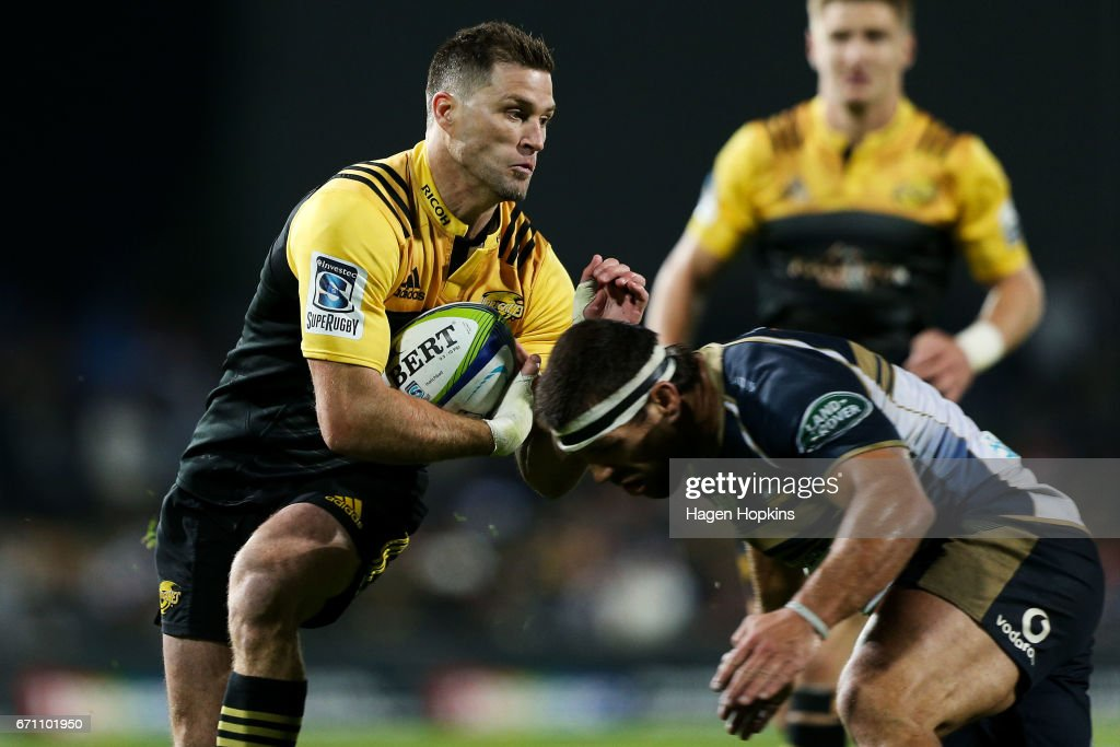Cory Jane in action during the round nine Super Rugby match between the Hurricanes and the Brumbies at McLean Park on April 21, 2017 in Napier, New Zealand.