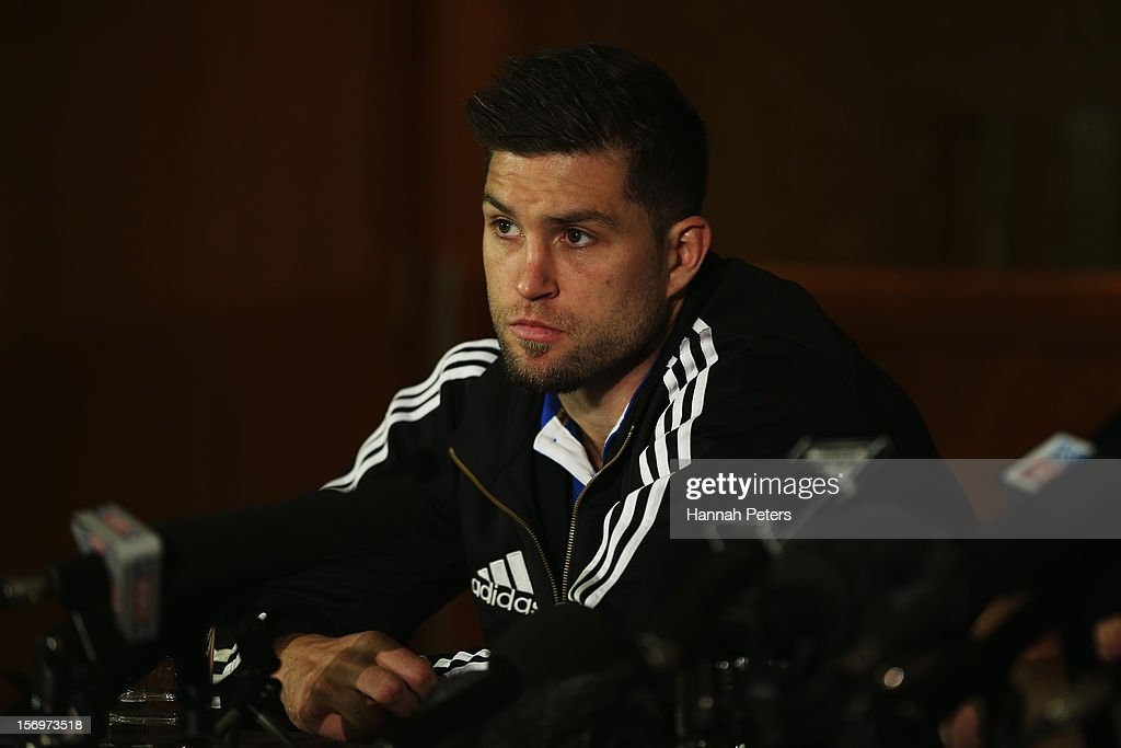 Cory Jane of the All Blacks answers questions from the media during a press conference at the Royal Gardens Hotel on November 26, 2012 in London, England.