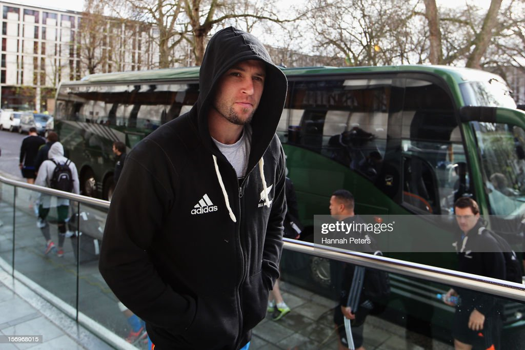 Cory Jane of the All Blacks arrives for a recovery session at the Imperial College on November 26, 2012 in London, England.