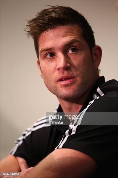 Cory Jane of the All Blacks speaks during the New Zealand All Blacks media session at the Southern Cross Hotel on October 17 2013 in Dunedin New...