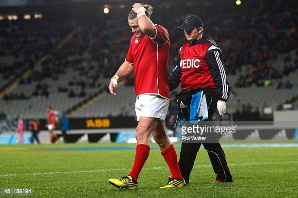 Cory Jane of the Barbarians leaves the field injured during the match between the New Zealand Maori All Blacks and the New Zealand Barbarians at Eden...