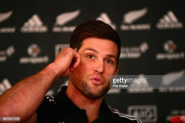 Cory Jane of the New Zealand All Blacks speaks during a media session at the Castleknock Golf Club on November 22 2013 in Dublin Ireland