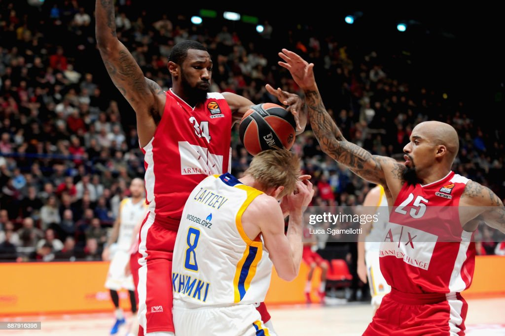 Cory Jefferson, #34 and Jordan Theodore, #25 of AX Armani Exchange Olimpia Milan competes with during the 2017/2018 Turkish Airlines EuroLeague Regular Season Round 11 game between AX Armani Exchange Olimpia Milan and Khimki Moscow Region at Mediolanum Forum on December 7, 2017 in Milan, Italy.