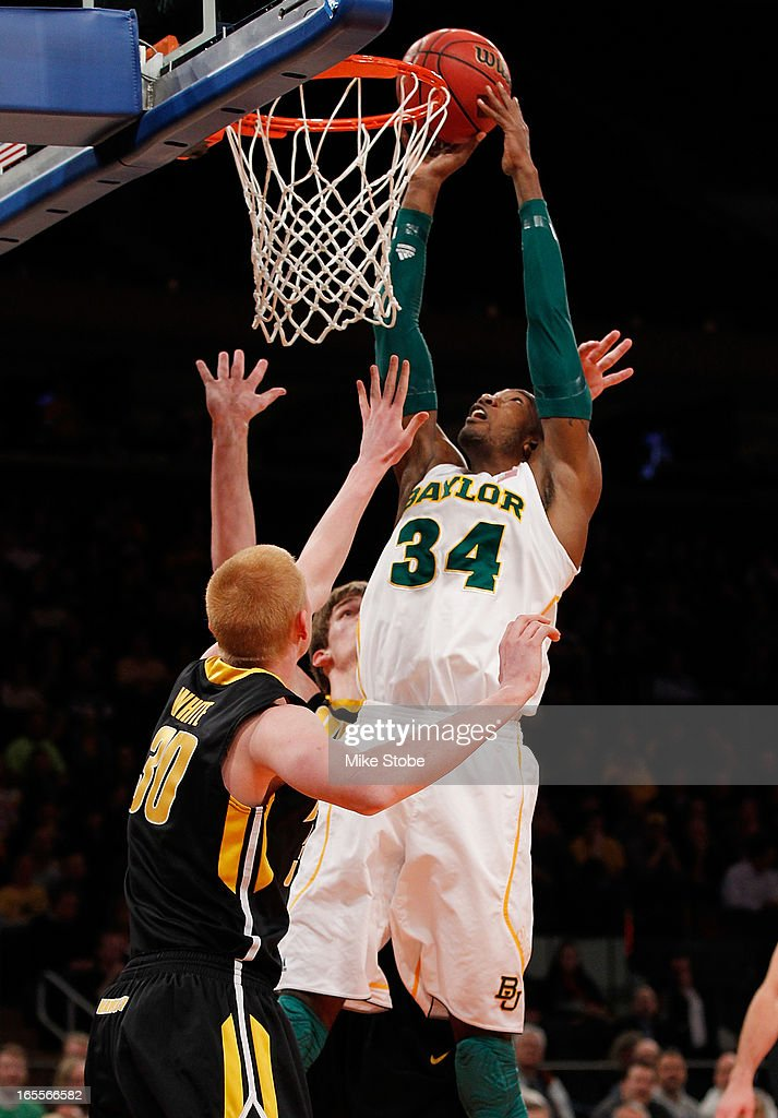 Cory Jefferson #34 of the Baylor Bears dunks the ball against the Iowa Hawkeyes during the 2013 NIT Championship at Madison Square Garden on April 4, 2013 in New York City. Baylor defeated Iowa 74-54.