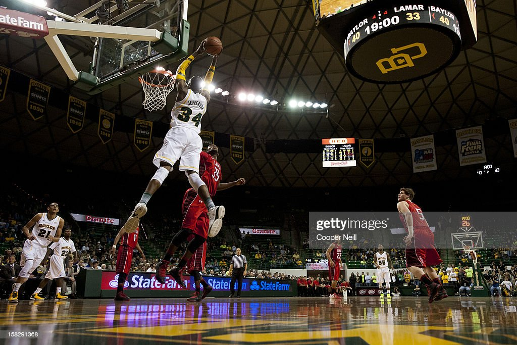 Cory Jefferson #34 of the Baylor University Bears catches an alley-oop against the Lamar Cardinals on December 12, 2012 at the Ferrell Center in Waco, Texas.