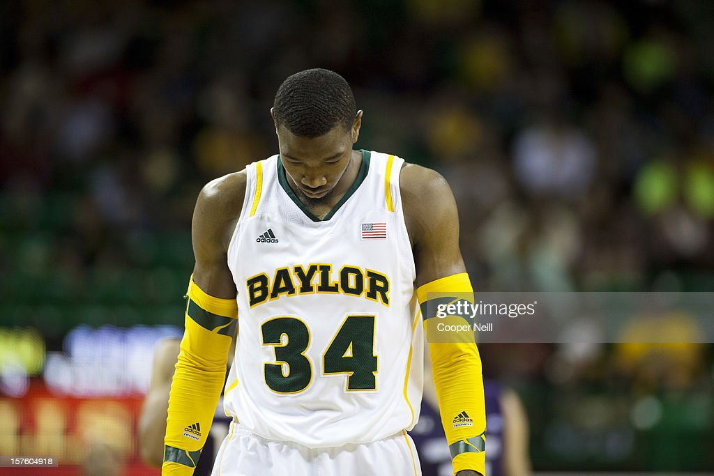 Cory Jefferson #34 of the Baylor University Bears hangs his head while trailing the Northwestern University Wildcats on December 4, 2012 at the Ferrell Center in Waco, Texas.