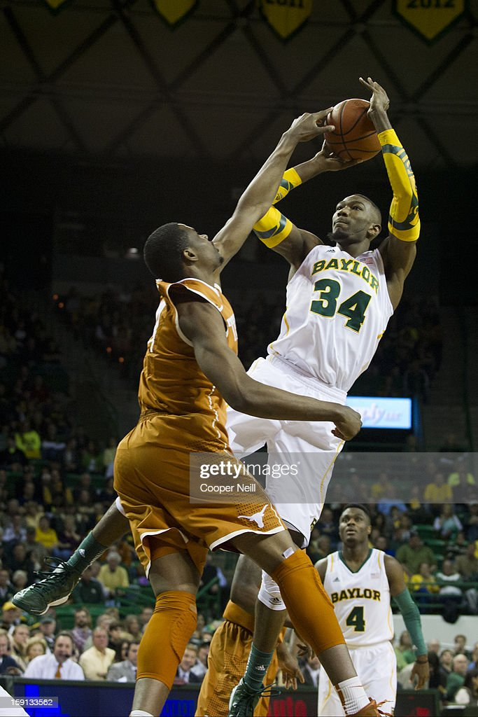 Cory Jefferson #34 of the Baylor University Bears shoots the ball against the University of Texas Longhorns on January 5, 2013 at the Ferrell Center in Waco, Texas.
