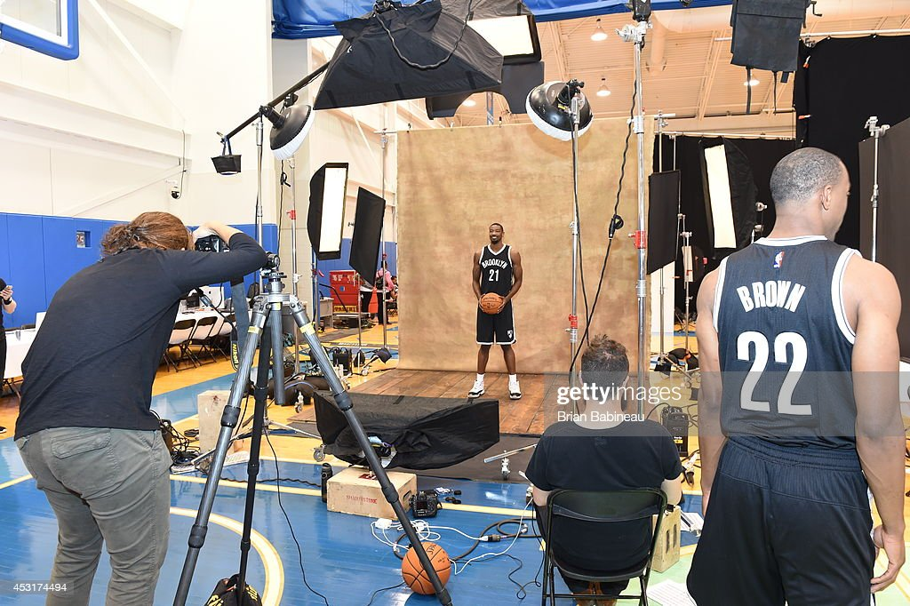 <a gi-track='captionPersonalityLinkClicked' href=/galleries/search?phrase=Cory+Jefferson&family=editorial&specificpeople=8783017 ng-click='$event.stopPropagation()'>Cory Jefferson</a> #21 of the Brooklyn Nets behind the scenes during the 2014 NBA rookie photo shoot on August 3, 2014 at the Madison Square Garden Training Facility in Tarrytown, New York.