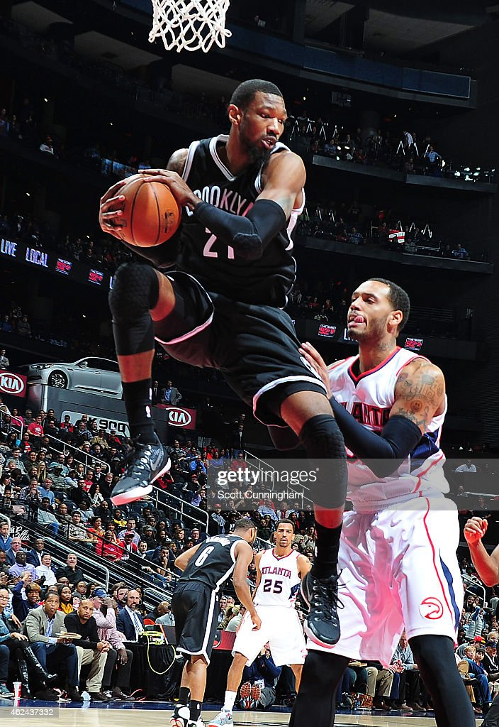 <a gi-track='captionPersonalityLinkClicked' href=/galleries/search?phrase=Cory+Jefferson&family=editorial&specificpeople=8783017 ng-click='$event.stopPropagation()'>Cory Jefferson</a> #21 of the Brooklyn Nets grabs a rebound against the Atlanta Hawks on January 28, 2015 at Philips Arena in Atlanta, Georgia.