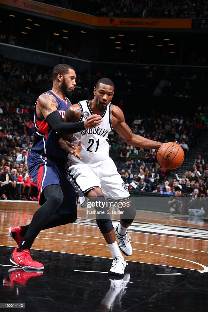<a gi-track='captionPersonalityLinkClicked' href=/galleries/search?phrase=Cory+Jefferson&family=editorial&specificpeople=8783017 ng-click='$event.stopPropagation()'>Cory Jefferson</a> #21 of the Brooklyn Nets handles the ball against the Atlanta Hawks on December 5, 2014 at the Barclays Center in the Brooklyn borough of New York City.