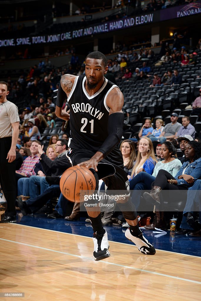 <a gi-track='captionPersonalityLinkClicked' href=/galleries/search?phrase=Cory+Jefferson&family=editorial&specificpeople=8783017 ng-click='$event.stopPropagation()'>Cory Jefferson</a> #21 of the Brooklyn Nets handles the ball against the Denver Nuggets on February 23, 2015 at the Pepsi Center in Denver, Colorado.
