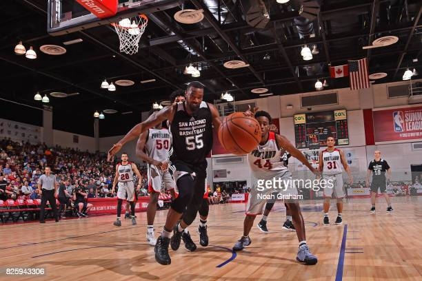 Cory Jefferson of the San Antonio Spurs goes for a loose ball during the 2017 Las Vegas Summer League game against the Portland Trail Blazers on July...
