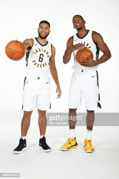Cory Joseph and Glenn Robinson III of the Indiana Pacers poses for a portrait during the Pacers Media Day at Bankers Life Fieldhouse on September 25...
