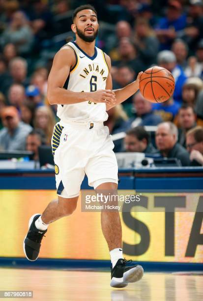 Cory Joseph of the Indiana Pacers brings the ball up court during the game against the San Antonio Spurs at Bankers Life Fieldhouse on October 29...