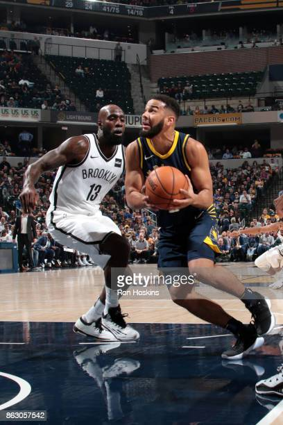 Cory Joseph of the Indiana Pacers drives to the basket against the Brooklyn Nets on October 18 2017 at Bankers Life Fieldhouse in Indianapolis...