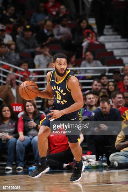 Cory Joseph of the Indiana Pacers handles the ball against the Chicago Bulls on November 10 2017 at the United Center in Chicago Illinois NOTE TO...