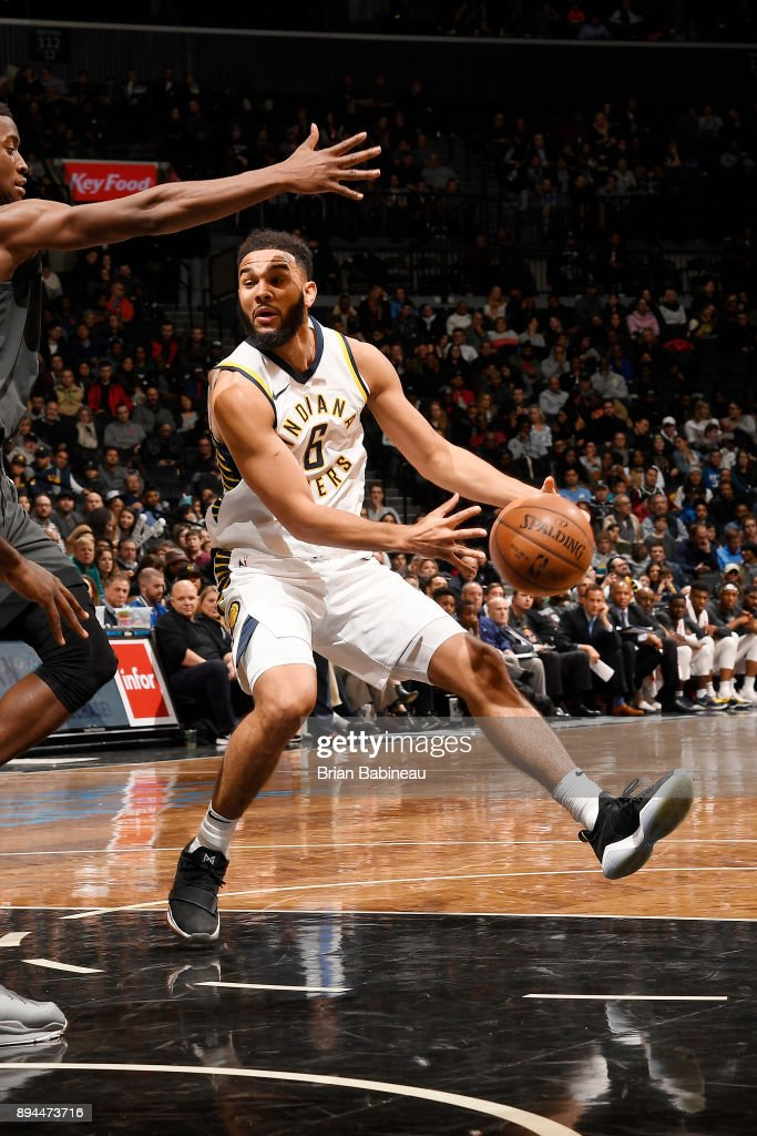Cory Joseph #6 of the Indiana Pacers handles the ball against the Brooklyn Nets on December 17, 2017 at Barclays Center in Brooklyn, New York.