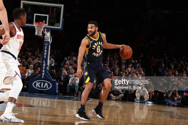 Cory Joseph of the Indiana Pacers handles the ball against the New York Knicks on November 5 2017 at Madison Square Garden in New York City New York...