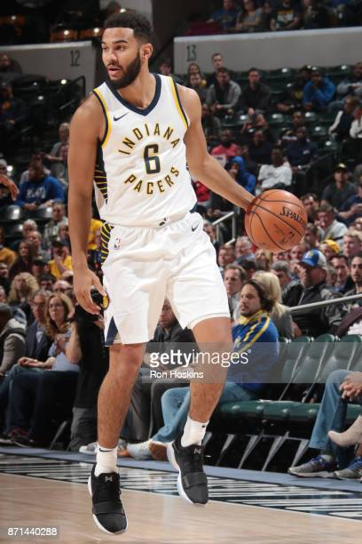 Cory Joseph of the Indiana Pacers handles the ball against the New Orleans Pelicans on November 7 2017 at Bankers Life Fieldhouse in Indianapolis...