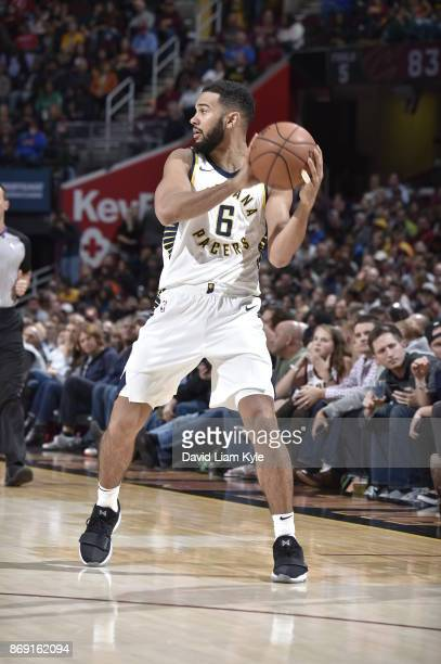 Cory Joseph of the Indiana Pacers handles the ball against the Cleveland Cavaliers on November 1 2017 at Quicken Loans Arena in Cleveland Ohio NOTE...
