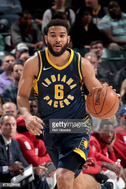 Cory Joseph of the Indiana Pacers handles the ball against the Houston Rockets on November 12 2017 at Bankers Life Fieldhouse in Indianapolis Indiana...