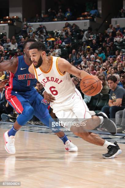 Cory Joseph of the Indiana Pacers handles the ball against the Detroit Pistons on November 17 2017 at Bankers Life Fieldhouse in Indianapolis Indiana...