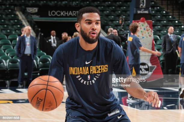 Cory Joseph of the Indiana Pacers handles the ball before the preseason game against the Maccabi Haifa on October 10 2017 at Bankers Life Fieldhouse...